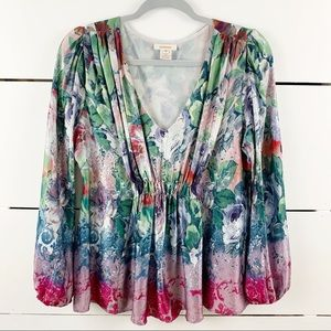 SUNDANCE 100% Silk Watercolor Floral Blouse Medium